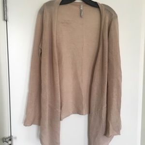Beige knitted, drape cardigan